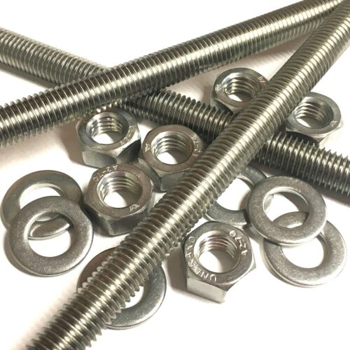 M12 A2 Stainless Threaded Bar Rod Studding With//Without Nuts /& Washers 3 Pack