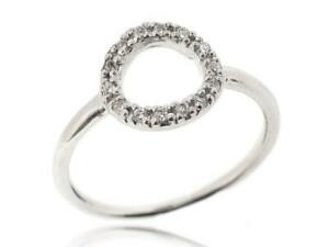 Circle Ring Pave Setting Cubic Zirconia Stones 925 Silver