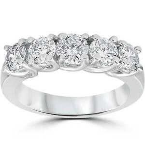 1 1/2ct Real Diamond Wedding Anniversary Band Womens 14k White Gold Ring
