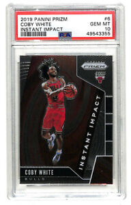 2019-20 Panini Prizm Coby White Instant Impact rookie RC cards PSA 10 Bulls
