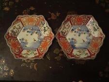 Japanese Meiji Imari Arita porcelain 2 dishes horse moon three friends of winter