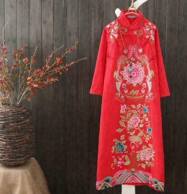 Women's Long Dresses Ethnic Retro Embroidery Cotton Linen Qipao Cheon