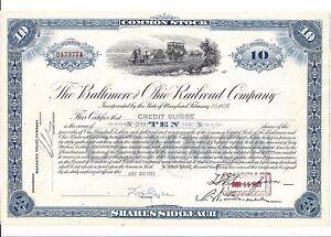 Baltimore and Ohio Railroad Company Stock Certificate