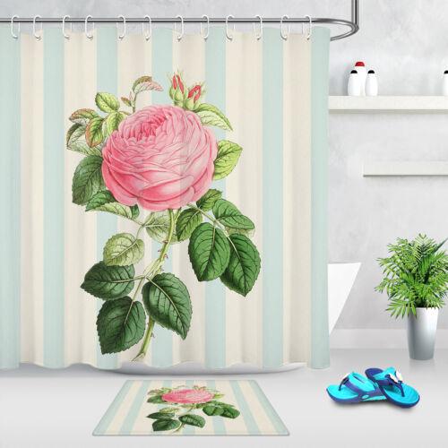 Rose Chinois Rose Fleur Salle de bains Tissu imperméable rideau de douche /& 12 Crochets LB