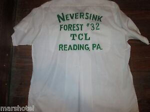 VINTAGE ELBECO BOWLING TEAM SHIRT NEVERSINK FOREST #32 TCL READING PA