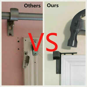 NEW-Hang-Dual-Center-Support-Curtain-Rod-Holder-Into-Window-Frame-Bracket-Black