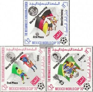 Yemen-UK-1144A-1146A-complete-issue-used-1970-Football-WM-7