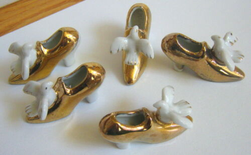 5 Vintage ceramic wedding favor or cake decoration topper, dove on shoe, Japan