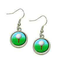 Golf Ball Dangling Drop Charm Earrings
