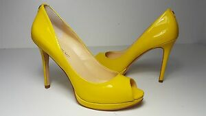 Details about $130 size 8.5 Ivanka Trump Maggie Yellow Leather Peep ...