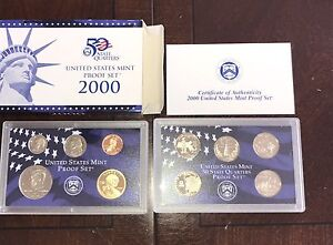 10-2000-US-Mint-Proof-Coin-Sets-With-State-Quarters-GEM-BU-100-Coins