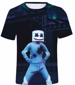 Boys Men 3D print T shirt Sport Nylon Top Fortnite Marshmello super dry 12-20yrs