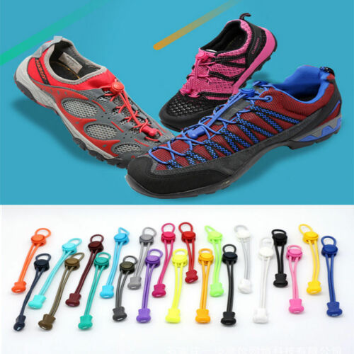 2x No-Tie Locking Elastic Shoelaces Running Speed Shoe Laces NEW For Sport Shoes