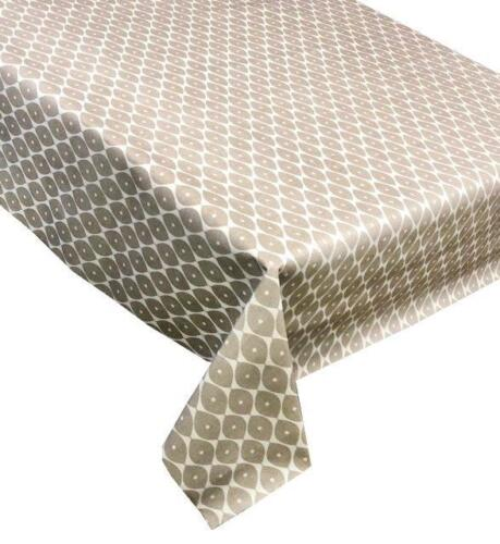 Vinyl Tablecloth Morrocan Light Brown Wipe Clean Plastic Pvc Textile Backed 246