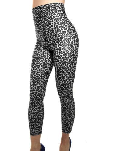 HIGH WAISTED LEOPARD PRINT OPAQUE SPANDEX LEGGINGS BLACK WHITE XS S M L XL XXL