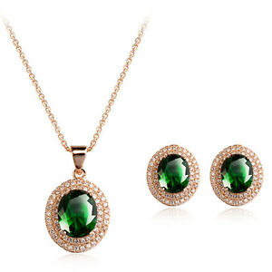 18K-GOLD-PLATED-amp-GENUINE-CUBIC-ZIRCONIA-EMERALD-GREEN-NECKLACE-amp-EARRING-SET