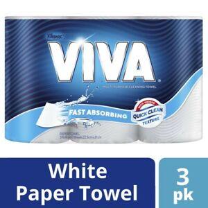 3Pck-Kleenex-Viva-Fast-Absorbing-Quick-Clean-Multipurpose-Paper-Towels-White