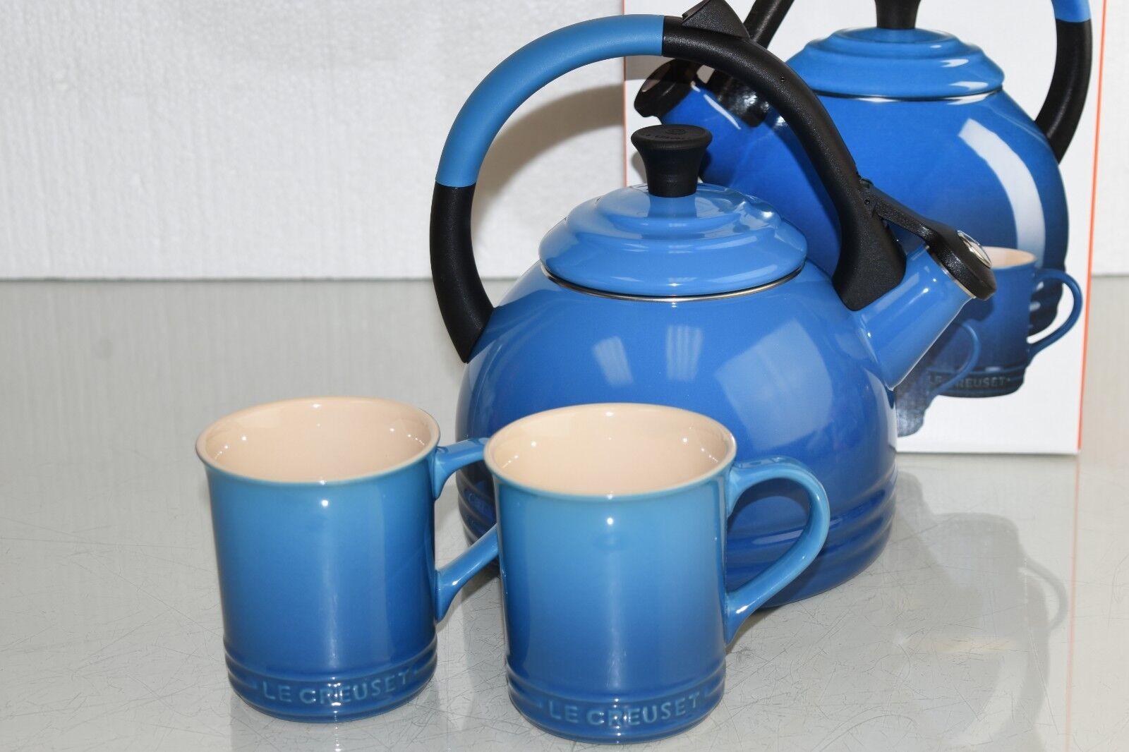 NEW in BOX Le Creuset PERUH Tea Pot KETTLE + 2 MUGS Enameled Marseille bleu