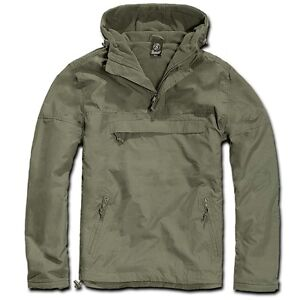 c2886658a4b Brandit - Windbreaker Olive With Hoodie Rain Jacket Men s Plus size ...