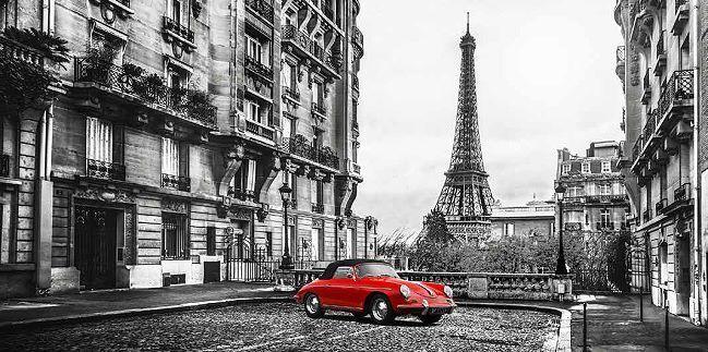 Gasoline Images  Roadster in Paris rot Keilrahmen-Bild Leinwand Oldtimer Porsche