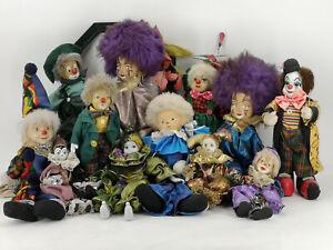 12-Alte-Puppen-Konvolut-Paket-Puppe-Clown-Deko-Clowns-fuer-Sammler-Sammlung