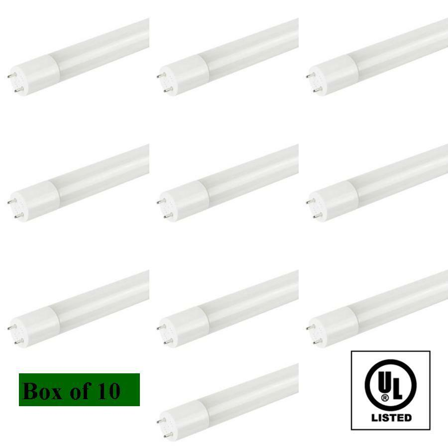 Box of 10 T8 LED Fluorescent Tube Replacement Light Cool White 4000K 4 Foot