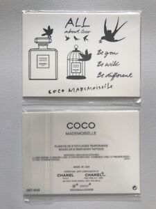 RARE-Authentic-CHANEL-Coco-Mademoiselle-Board-Of-9-Temporary-Tattoos-3-5-x2-5