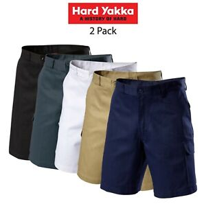 Mens-Hard-Yakka-Generation-Gen-Y-Cotton-Cargo-Drill-Shorts-2PK-Work-Tough-Y05500
