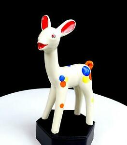 CALIFORNIA-POTTERY-WHITE-COLORFUL-BALLOON-SPOTS-RED-EARS-DEER-6-3-4-034-FIGURINE