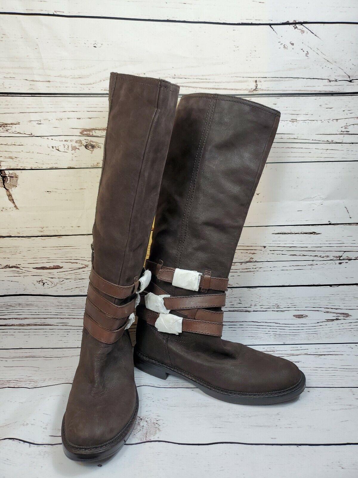 NEW B. Makowsky sz 11 Kadin Brown Leather Tall Knee Boots Buckles Straps