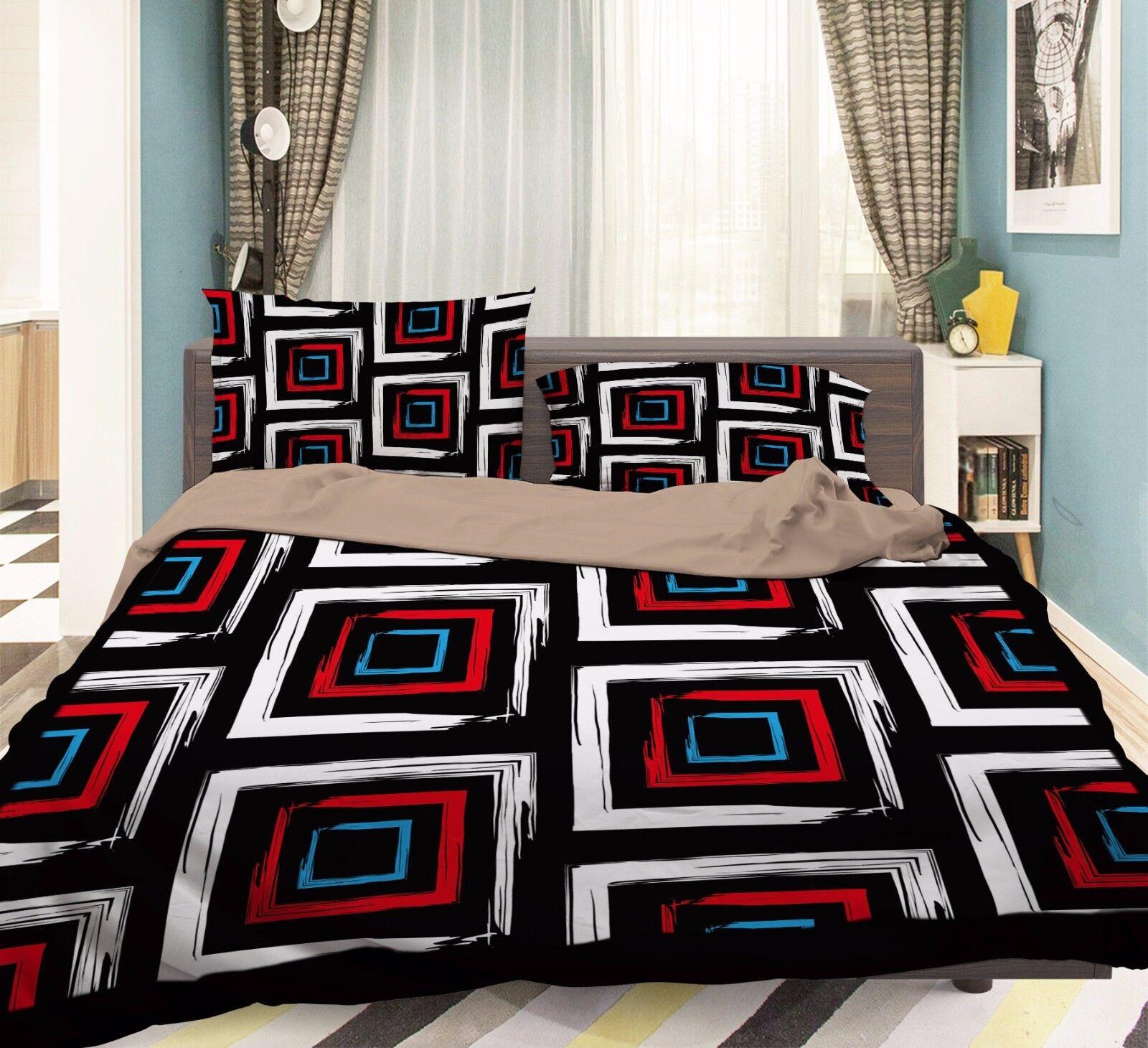 3D Grid Painted 906 Bed Pillowcases Quilt Duvet Cover Set Single Queen UK Summer
