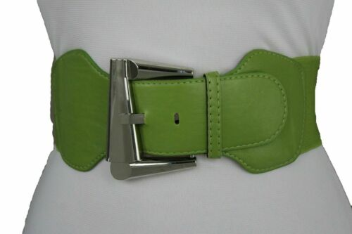 Fun Women Casual Look Apple Green Color Wide Elastic Strap Belt Retro Buckle S M
