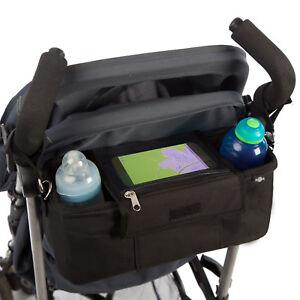 BTR-Buggy-Organiser-Pushchair-Pram-Bag-with-2-x-Pram-Clips-amp-Mobile-Phone-Pocket