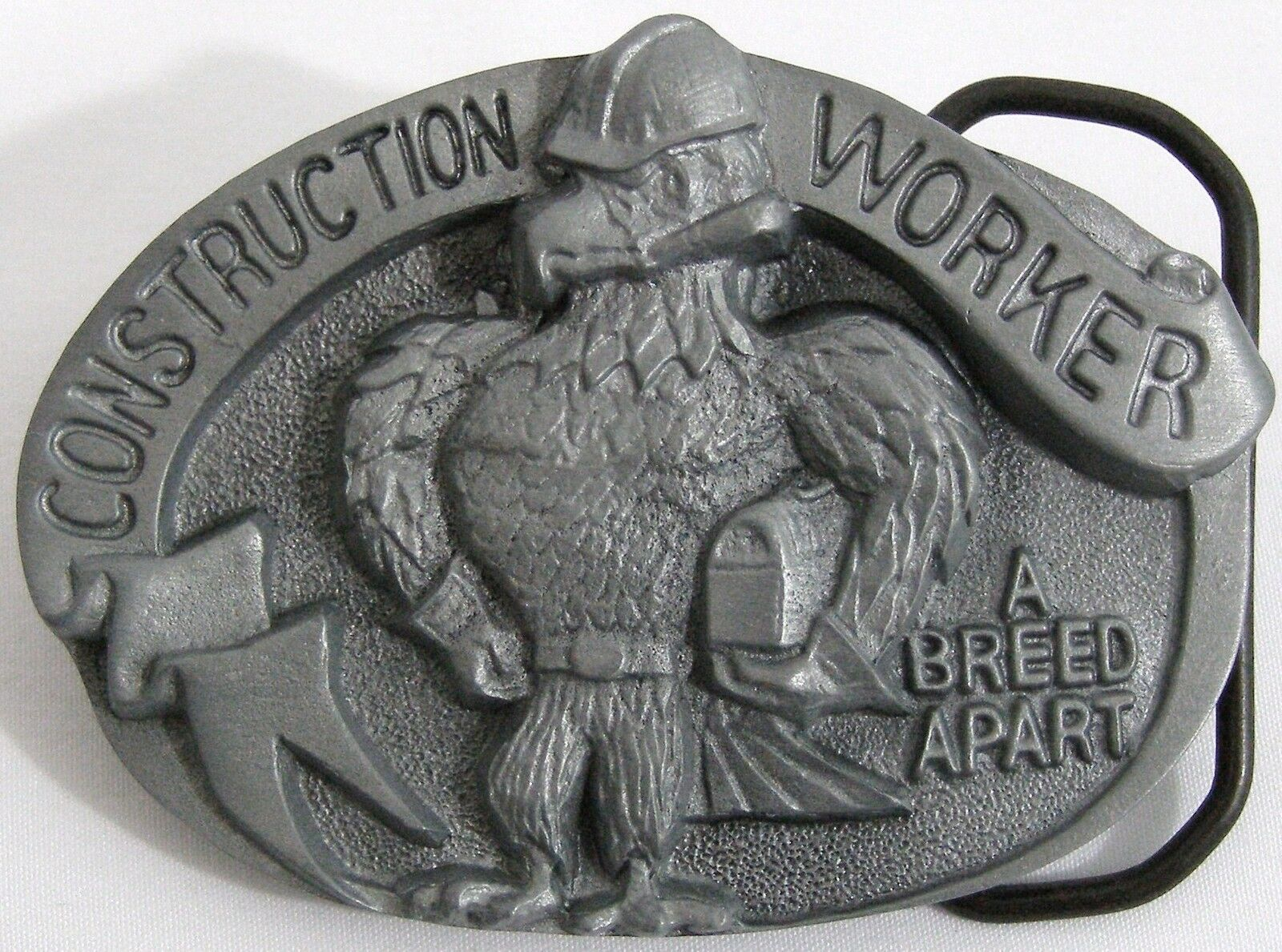 BELT BUCKLES Construction Worker A Breed Apart Eagle Gray Oval Professions NWOT!