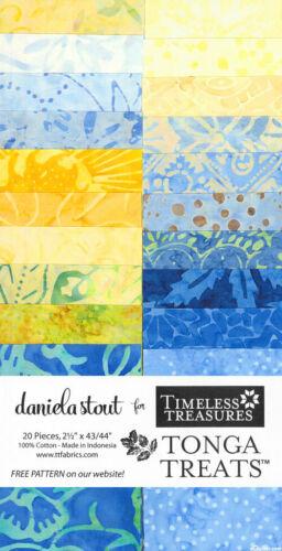 "Jelly Roll Batik Soleil Blue Yellow Fabric Timeless Tonga 20 Strips 2.5/""X44/"""