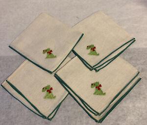 Vintage-Scottie-Dog-Embroidered-Linen-Napkins-Green-Trim-Set-of-4
