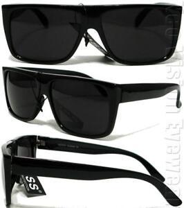 Gangster-Flat-Top-Square-Sunglasses-OG-LOC-Style-Super-Dark-Black-K60SD