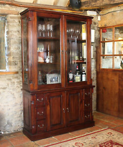 La Roque Dark Wood Gl Display Cabinet Large Solid Mahogany Ebay