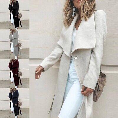 Women Winter Outwear Wool Lapel Long Slim Trench Parka Coat Jacket Overcoat RT