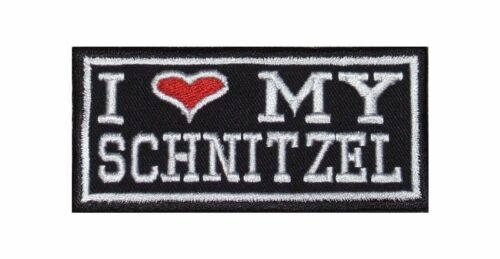 I Love my Schnitzel Bügelbild Biker Rocker Heavy Patch Aufnäher Kutte Meat Fleis