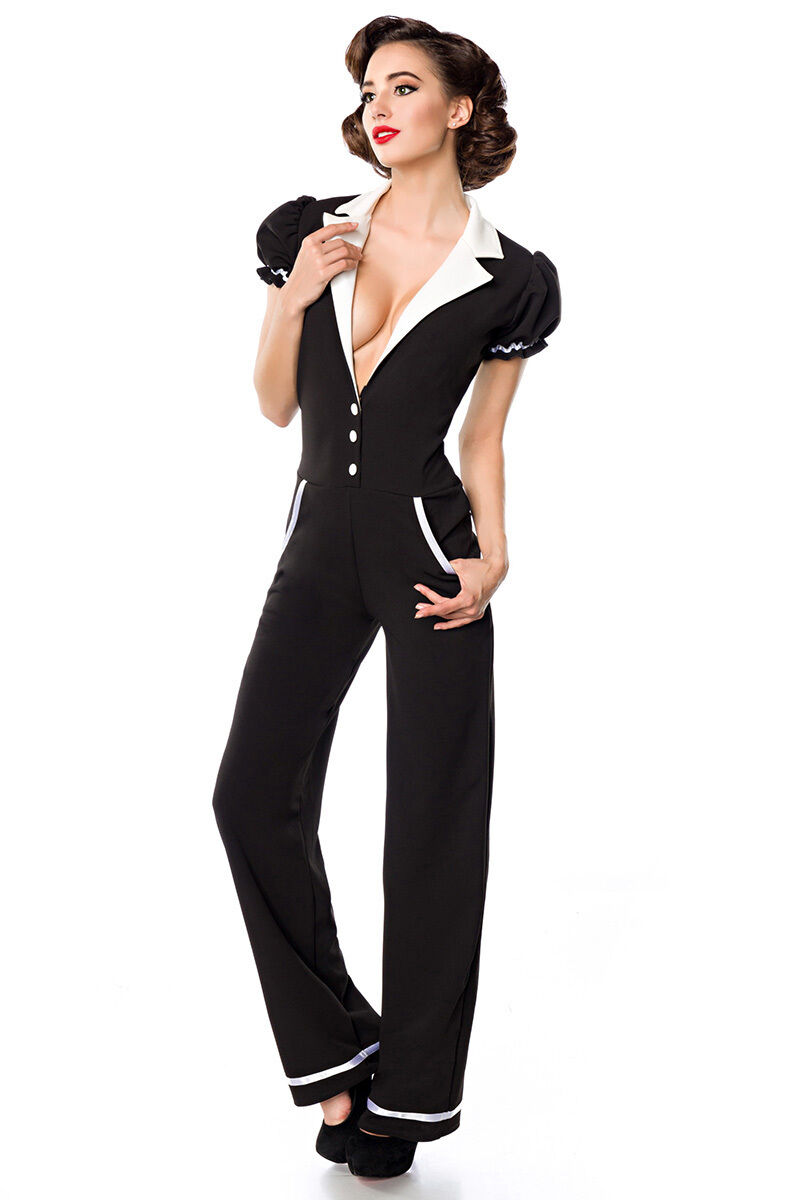 Sexy 50er Hosenanzug Retro Vintage Rockabilly Overall Pin-Up Jumpsuit Catsuit