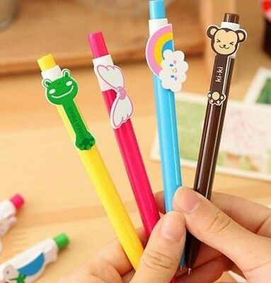 FD474 Cartoon Animal Shape head ball pen Stationary Kid Gift Random Color 1PC:)
