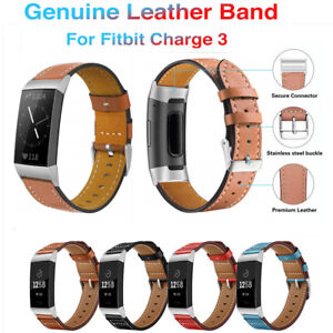 Details about For Fitbit Charge 3 Band Luxury Genuine Leather Replacement  Wristband Strap