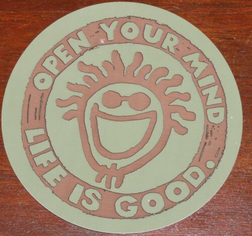 """Life is Good Sticker 4/"""" Round Open Your Mind Brown and Green New//Retired"""