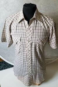 VTG Tem-Tex rockabilly plaid western pearl snap men's short sleeve  shirt sz 15