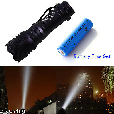 New 3000LM Zoomable 5-Modes CREE XM-L T6 LED Flashlight Torch Lamp+14500 Battery
