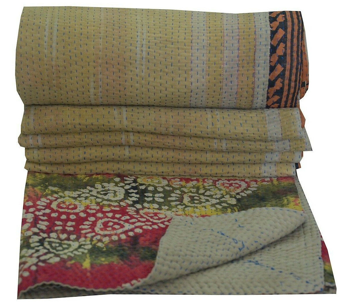 Indian Vintage Cotton Kantha Quilt Reversible Ralli Blanket Authentic Bedspread