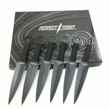 "6pc 6.5"" Perfect Point Tactical Black Kunai Throwing Knives Set w/ Nylon Sheath"