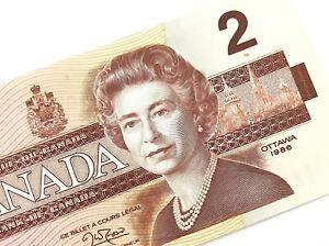1986-Canada-2-Dollars-BGW-Uncirculated-Canadian-Thiessen-Crow-Banknote-M936
