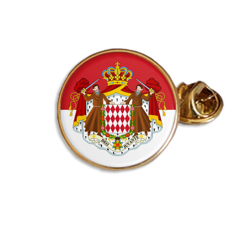 MONACO FLAG COAT OF ARMS ENAMEL LAPEL PIN BADGE GIFT